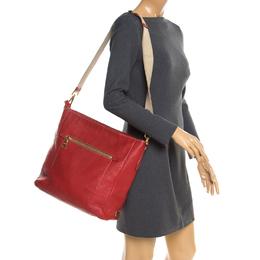 Prada Red Pebbled Leather Messenger Bag 181443