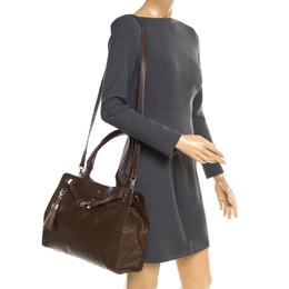Aigner Brown Leather Cavallina Top Handle Bag 182026