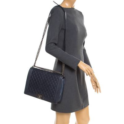 Chanel Navy Blue Quilted Leather Large Boy Flap Bag 181339 - 1