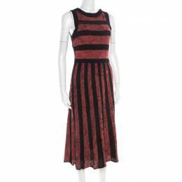 M Missoni Marled Bicolor Mesh Insert Cut Out Detail Striped Sleeveless Dress M 181694