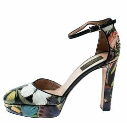 Valentino Multicolor Printed Leather Butterfly Ankle Strap Platform Pumps Size 39 182116