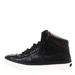 Jimmy Choo Black Croc Embossed Leather High Top Sneakers Size 40.5 182348