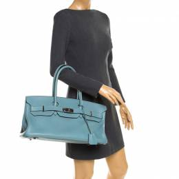 Hermes Ciel Clemence Leather Palladium Hardware Shoulder Birkin 42 Bag 180906