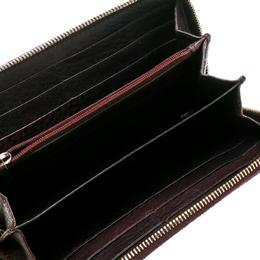 Gucci Burgundy Guccissima Leather Bamboo Tassel Zip Around Wallet 182299