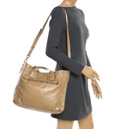 Prada Beige Leather Top Handle Bag 182128