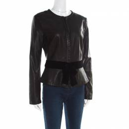 Emporio Armani Black Leather Velvet Bow Detail Biker Jacket M 182167