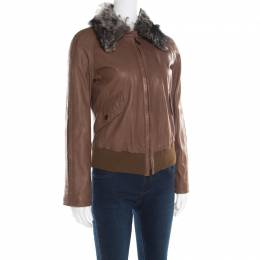 Emporio Armani Brown Leather Fur Collar Detail Zip Front Jacket S 182182