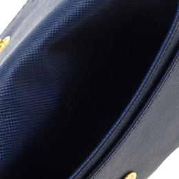 Prada Blue Saffiano Leather Flap Wallet 182624