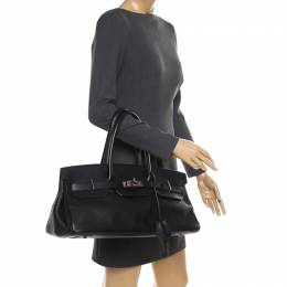 Hermes Black Clemence Leather Palladium Hardware Shoulder Birkin 42 Bag 182600