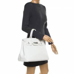 Hermes White Togo Leather Palladium Hardware Birkin 35 Bag 182625