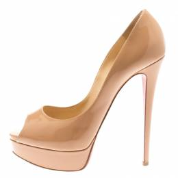 Christian Louboutin Beige Patent Leather Lady Peep Toe Platform Pumps Size 39 183084