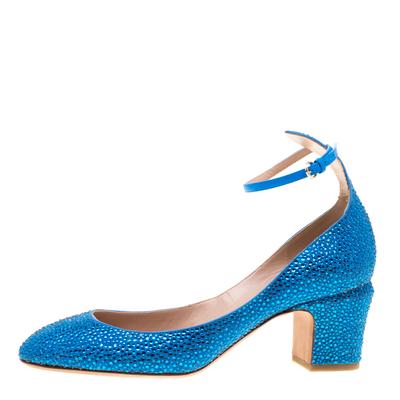 Valentino Blue Crystal Embellished Suede Block Heel Ankle Strap Pumps Size 40 297536 - 1