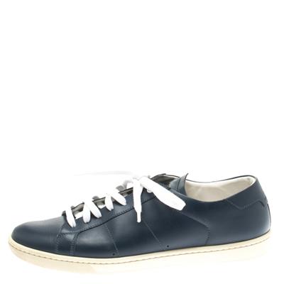 Saint Laurent Blue Leather Low Top Sneakers Size 39 183799 - 1