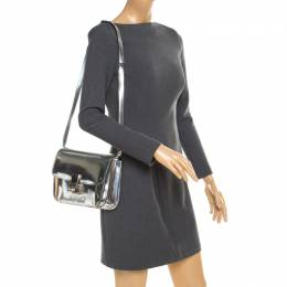 Celine Metallic Silver Leather Medium Classic Box Shoulder Bag 184269