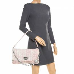 Miu Miu Baby Pink Matelasse Nappa Leather Crystal Shoulder Bag 185254
