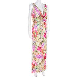 Blumarine Multicolor Floral Printed Silk Jersey Draped Sleeveless Maxi Dress S 184932