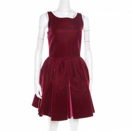 Alaia Burgundy Velvet Sleeveless Gathered Dress M