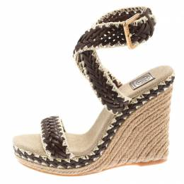 Tory Burch Two Tone Woven Leather Lilah Ankle Strap Espadrille Wedge Sandals Size 36.5