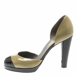 Chanel Olive Green And Black Patent Leather Cap Toe D'orsay Pumps Size 40 184883
