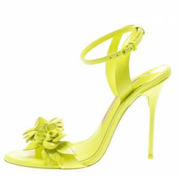 Sophia Webster Neon Green Leather Lilico Floral Embellished Ankle Wrap Sandals Size 36.5 185270