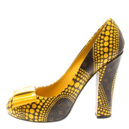 Louis Vuitton x Yayoi Kusama Limited Edition Yellow Polka Dot Monogam Canvas Bow Detail Pumps Size 38 185252