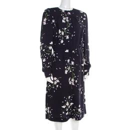 Miu Miu Navy Blue Floral Printed Ruched Waist Detail Long Sleeve Dress M 184808