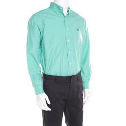 Ralph Lauren Green and Blue Checked Cotton Classic Button Down Shirt M 185316