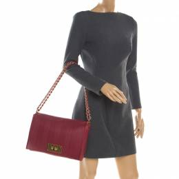 Fendi Red Leather Large Claudia Shoulder Bag 324027