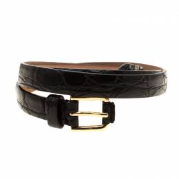 Dolce & Gabbana Black Crocodile Leather Belt Size 80CM Gucci 186502