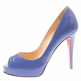 Christian Louboutin Lilac Patent Leather New Very Prive Peep Toe Pumps Size 38 185880