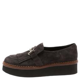 Tod's Dark Grey Suede Kiltie Fringe Double T Platform Loafers Size 38 185887