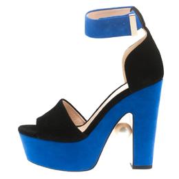 Nicholas Kirkwood Black/Blue Suede Maya Pearl Platform Ankle Strap Sandals Size 35 186141