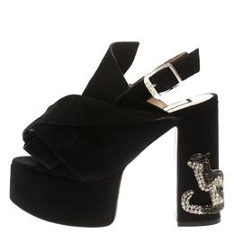 No. 21 Black Suede Embellished Knot Platform Block Heel Ankle Strap Sandals Size 36 186150