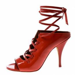 Givenchy Coral Red Patent Leather Lace Up Backless Mule Sandals Size 36 185752