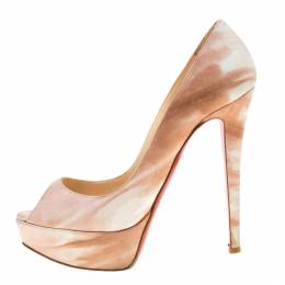 Christian Louboutin Beige/White Leather Lady Peep Toe Pumps Size 36.5 186052