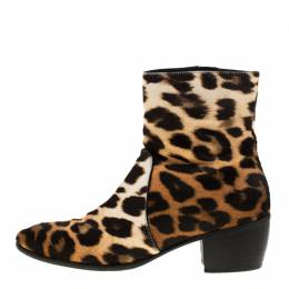 Giuseppe Zanotti Design Beige Leopard Print Calf Hair Ankle Boots Size 41.5