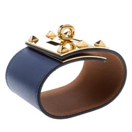 Hermes Kelly Dog Extreme Blue Leather Gold Plated Wide Bracelet S 186316