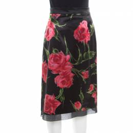 D & G Only Under 40 Vintage Black Rose Printed Satin Pencil Skirt L Dandg 185225