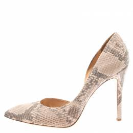 Charlotte Olympia Blush Pink Python Vamp D'orsay Pointed Toe Pumps Size 41