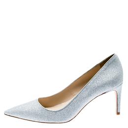 Sophia Webster Metallic Silver Glitter Lola Pointed Toe Pumps Size 41.5