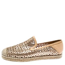 Stuart Weitzman Metallic Gold Glitter Laser Cut County Espadrilles Size 38 186475