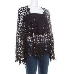 Chanel Black Sequined Cutout Guipure Lace Oversized Jacket M 186132
