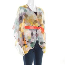 Matthew Williamson Multicolor Honeycomb Printed Silk Wrap Kimono Tunic S 186512