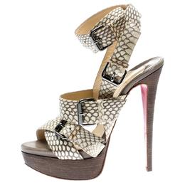 Christian Louboutin Beige Cobra Toutenkaboucle Strappy Platform Sandals Size 36 185372