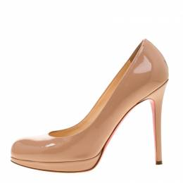 Christian Louboutin Beige Patent Leather Neofilo Platform Pumps Size 37 187302