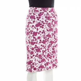 D&G White and Pink Floral Printed Stretch Cotton Skirt M Dandg 185784
