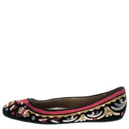 Oscar De La Renta Multicolor Suede And Lace Sequin Embellished Ballet Flats Size 36 192601