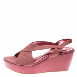 Gianvito Rossi Pink Canvas Wedge Cross Strap Sandals Size 37 192616