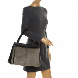 Celine Black/Grey Leather and Calf Hair Medium Edge Bag 192615