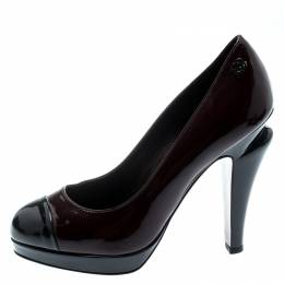 Chanel Black Patent Leather Cap Toe Platform Pumps Size 36 192750